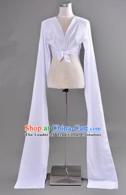 Traditional Chinese Long Sleeve Water Sleeve Dance Suit China Folk Dance Koshibo Long White Ribbon for Women