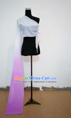 Traditional Chinese Long Sleeve Single Water Sleeve Dance Suit China Folk Dance Koshibo Long Lilac and White Gradient Ribbon for Women