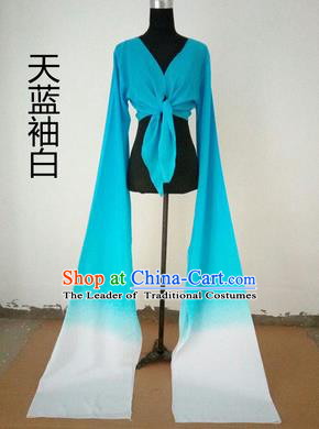 Traditional Chinese Long Sleeve Wide Water Sleeve Dance Suit China Folk Dance Koshibo Long White and Blue Gradient Ribbon for Women