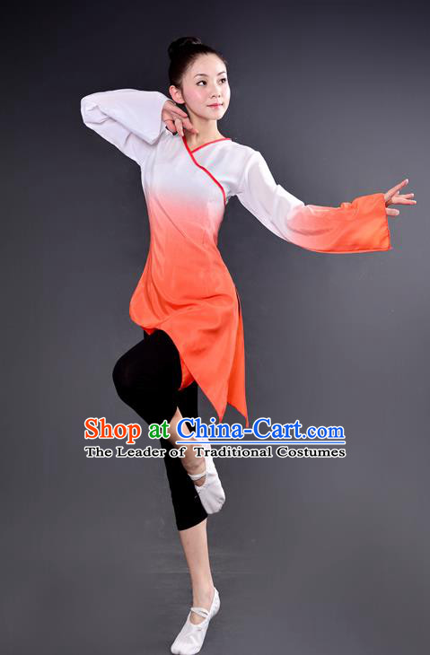 Traditional Chinese Yangge Fan Dancing Costume, China Folk Dance Yangko Dance Orange Dress For Women
