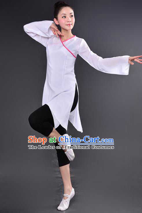 Traditional Chinese Yangge Fan Dancing Costume, China Folk Dance Yangko Dance White Dress For Women