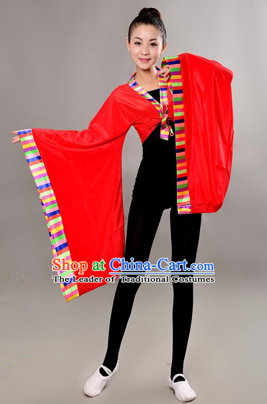 Traditional Chinese Tibetan Nationality Wide Sleeve Water Sleeve Dance Suit China Folk Dance Koshibo Red Blouse for Women