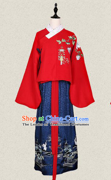 Traditional Ancient Chinese Female Costume Woolen Blouse and Skirt Complete Set, Elegant Hanfu Clothing Chinese Ming Dynasty Palace Lady Embroidered Begonia Crane Clothing for Women