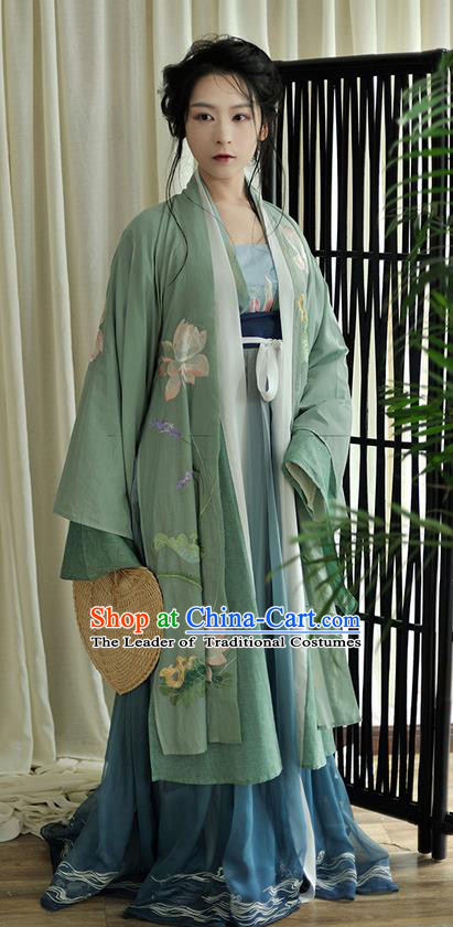 Traditional Ancient Chinese Female Costume Blouse and Dress Cappa Complete Set, Elegant Hanfu Clothing Chinese Tang Dynasty Palace Princess Embroidered Lotus Clothing for Women