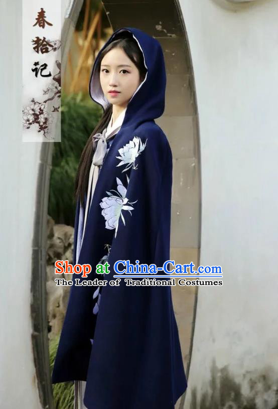 Traditional Ancient Chinese Female Costume Woolen Cardigan, Elegant Hanfu Cloak Chinese Ming Dynasty Palace Lady Embroidered Epiphyllum Hooded Navy Cape Clothing for Women