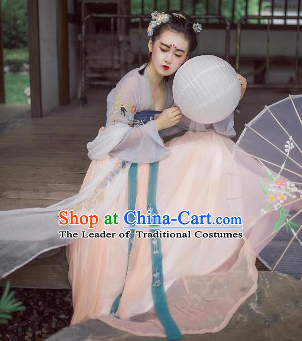Traditional Ancient Chinese Female Costume Blouse and Dress Complete Set, Elegant Hanfu Clothing Chinese Tang Dynasty Palace Princess Embroidered Clothing for Women