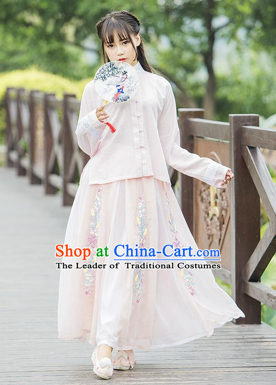 Traditional Ancient Chinese Female Costume Pink Blouse and Dress Complete Set, Elegant Hanfu Clothing Chinese Ming Dynasty Palace Princess Embroidered Swallow Clothing for Women