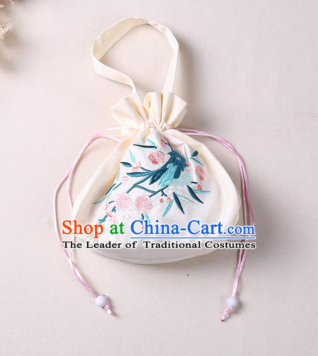 Traditional Ancient Chinese Embroidered Handbags Hanfu Embroidered Bird Flowers Round Beige Bag for Women