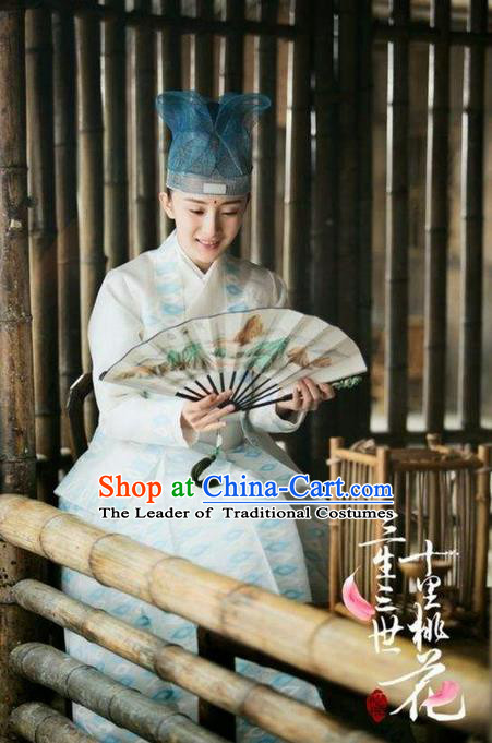 Traditional Ancient Chinese Nobility Childe Costume and Hat Complete Set, Elegant Hanfu Nobility Childe Robe, Chinese Cosplay Teleplay Ten great III of peach blossom Role Scholar Clothing for Men