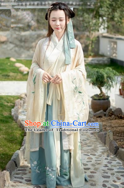 Traditional Ancient Chinese Female Costume Cardigan Blouse and Dress Complete Set, Elegant Hanfu Clothing Chinese Song Dynasty Imperial Empress Embroidered Clothing for Women