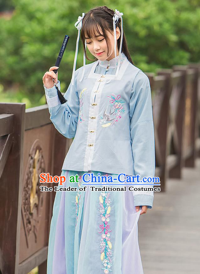 Traditional Ancient Chinese Female Costume Blue Blouse and Dress Complete Set, Elegant Hanfu Clothing Chinese Ming Dynasty Palace Princess Embroidered Swallow Clothing for Women