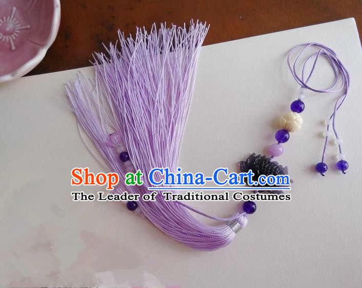 Traditional Chinese Handmade Ancient Hanfu Jade Wearing Violet Agate Lotus Pendant Sword Tassel for Men