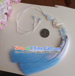 Traditional Chinese Handmade Ancient Hanfu Jade Wearing Violet Agate Moon Pendant Sword Blue Tassel for Men