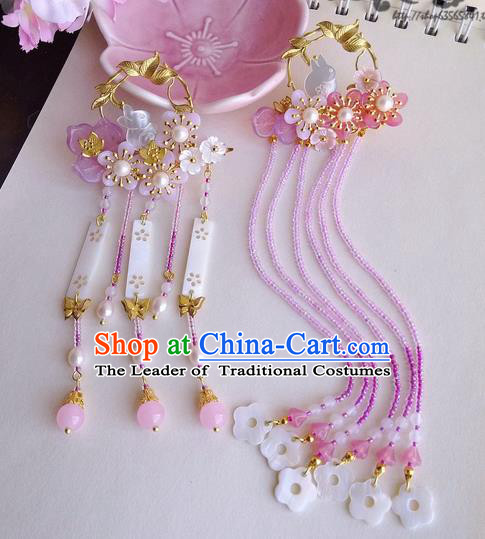Traditional Handmade Chinese Ancient Classical Hair Accessories Barrettes Hairpin, Pink Shell Pearl Tassel Hair Sticks Hair Jewellery, Hair Fascinators Hairpins for Women