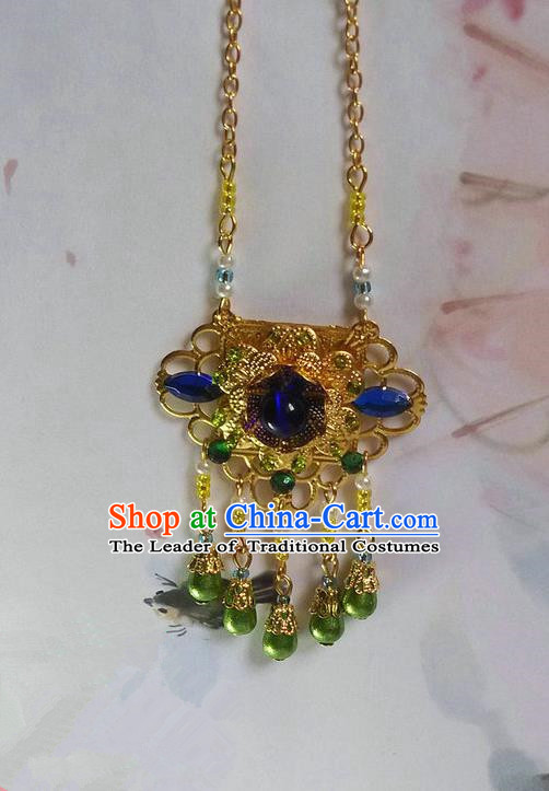 Traditional Handmade Chinese Ancient Classical Accessories Necklace Blue Pearl Longevity Lock for Women