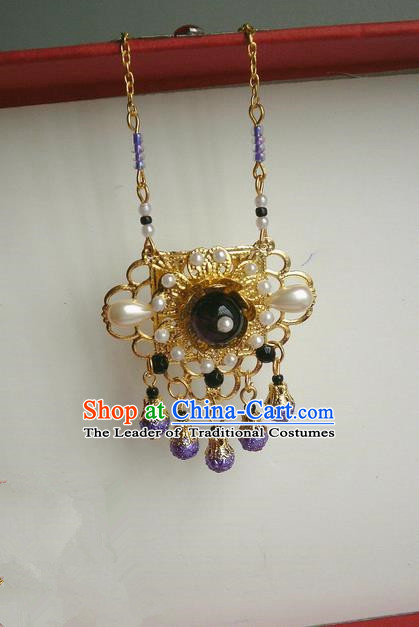 Traditional Handmade Chinese Ancient Classical Accessories Necklace Purple Pearl Longevity Lock for Women