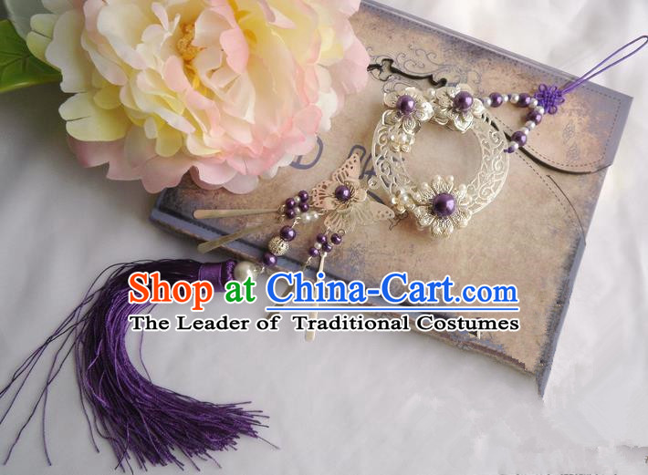 Traditional Chinese Handmade Ancient Hanfu Violet Butterfly Waist Jewelry Jade Wearing Agate Chinese Knot Pendant Sword Tassel for Women