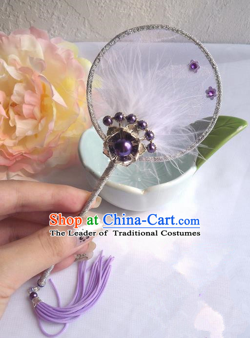Traditional Chinese Handmade Ancient Hanfu Purple Plush Little Fan Props