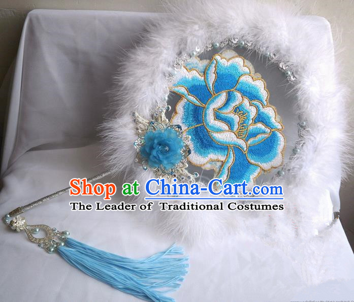 Traditional Chinese Handmade Ancient Hanfu Blue Plush Embroidered Round Fan Props for Women