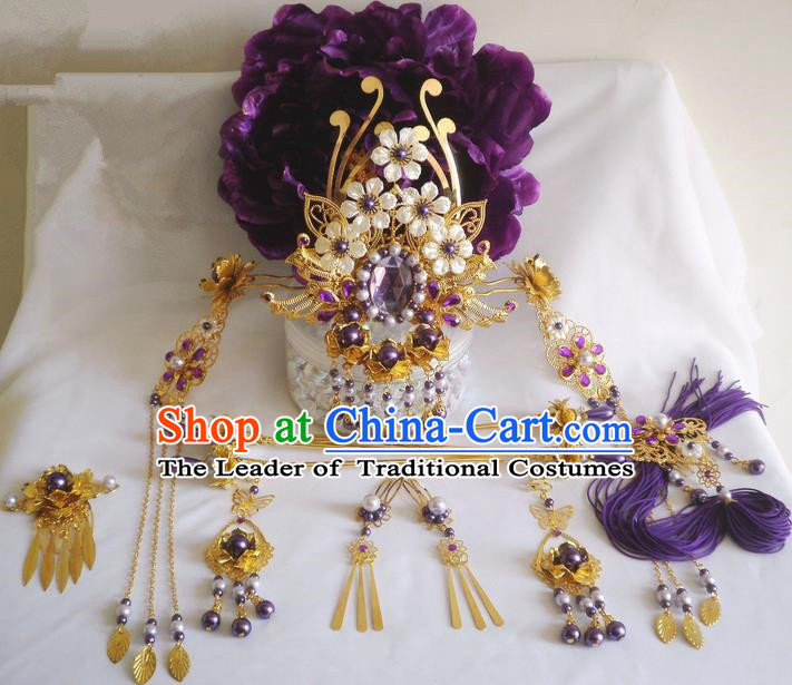 Traditional Handmade Chinese Ancient Classical Purple Hair Accessories Earrings and Necklace Complete Set, Hair Crown Flowers Hair Jewellery, Hair Fascinators Hairpins for Women