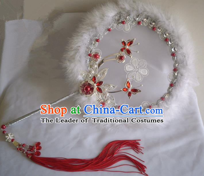 Traditional Chinese Handmade Ancient Hanfu Cosplay Red Feather Round Pearl Fan Props for Women