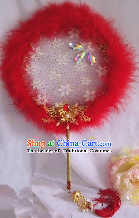 Traditional Chinese Handmade Ancient Hanfu Cosplay Round Embroidered Red Fan Props for Women