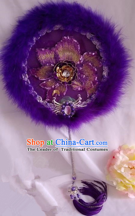 Traditional Chinese Handmade Ancient Hanfu Cosplay Round Embroidered Purple Fan Props for Women