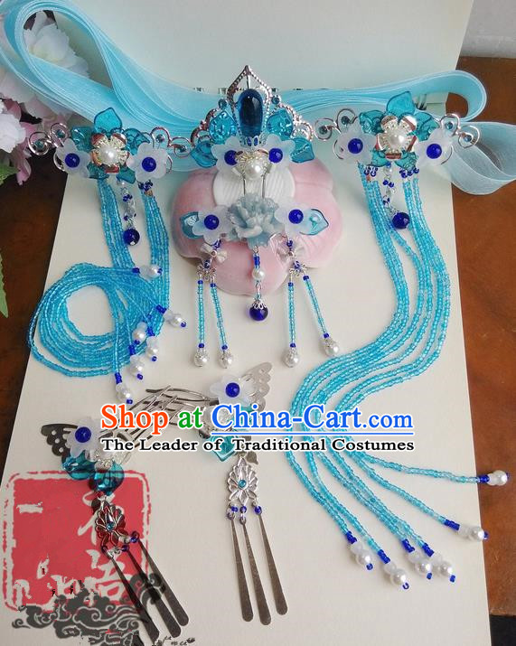 Traditional Handmade Chinese Ancient Classical Blue Flowers Hair Accessories Complete Set, Hair Sticks Tassel Hair Jewellery, Hair Fascinators Hairpins for Women