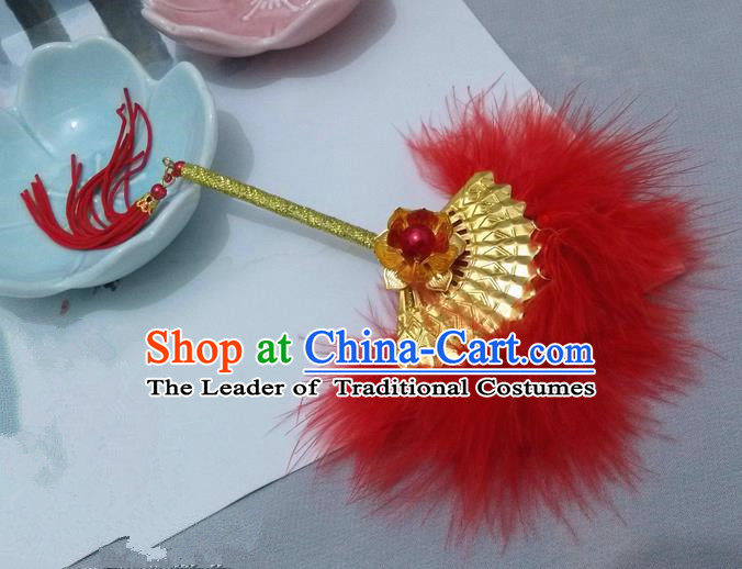 Traditional Chinese Handmade Ancient Hanfu Cosplay Red Feather Little Fan Props