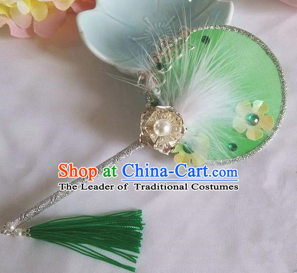 Traditional Chinese Handmade Ancient Hanfu Cosplay Green Feather Little Round Fan Props