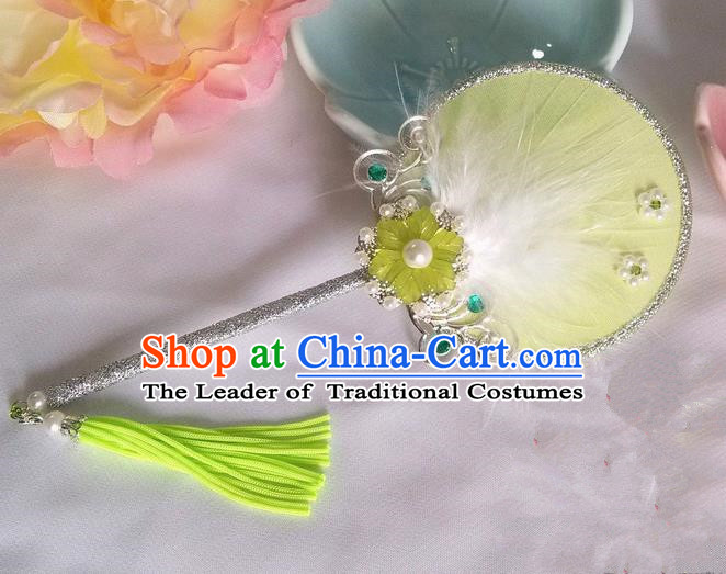 Traditional Chinese Handmade Ancient Hanfu Cosplay Yellow Feather Little Round Fan Props