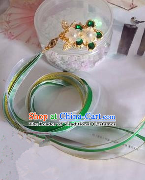 Traditional Handmade Chinese Ancient Classical Hair Accessories Ribbon Hairpin, Green Hair Claws for Women