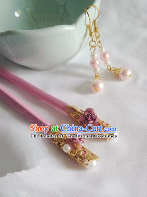 Traditional Handmade Chinese Ancient Classical Hair Accessories Pink Wooden Hairpins for Women