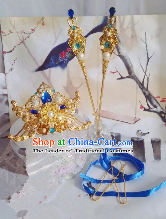 Traditional Handmade Chinese Ancient Classical Hair Accessories Complete Set, Hair Crown Hair Jewellery, Hair Fascinators Hairpins for Women