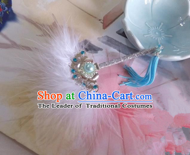 Traditional Chinese Handmade Ancient Hanfu Cosplay White Feather Little Fan Props