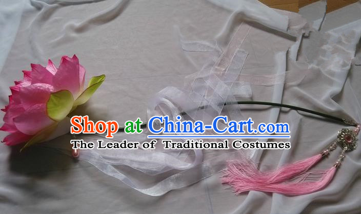 Traditional Chinese Handmade Ancient Hanfu Lotus Props for Women