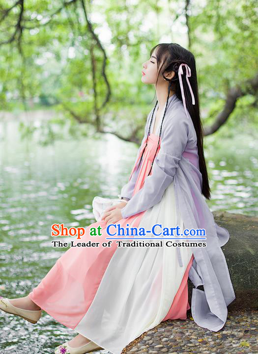 Traditional Ancient Chinese Female Costume Cardigan Blouse and Dress Complete Set, Elegant Hanfu Clothing Chinese Tang Dynasty Palace Princess Clothing for Women