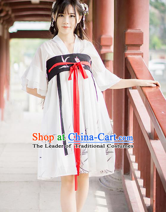 Traditional Ancient Chinese Female Costume Improved Blouse and Short Dress Complete Set, Elegant Hanfu Clothing Chinese Song Dynasty Palace Princess Ink Painting Bamboo Clothing for Women