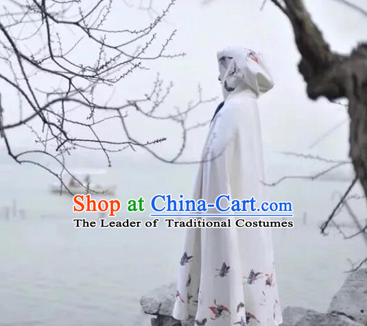 Traditional Ancient Chinese Female Costume Woolen Cardigan, Elegant Hanfu Long Cloak Chinese Ming Dynasty Palace Lady Embroidered Butterfly White Hooded Cape Clothing for Women