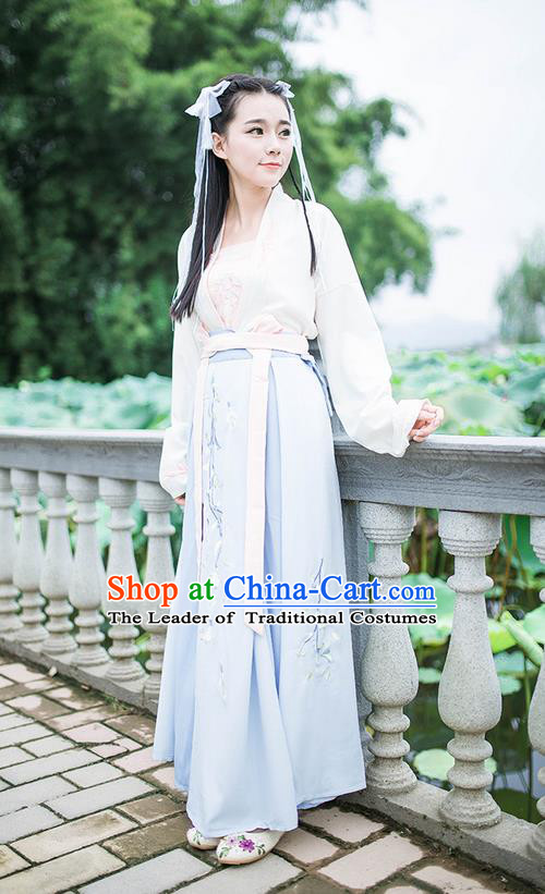 Traditional Ancient Chinese Female Costume Blouse and Dress Complete Set, Elegant Hanfu Clothing Chinese Ming Dynasty Palace Princess Embroidered Clothing for Women