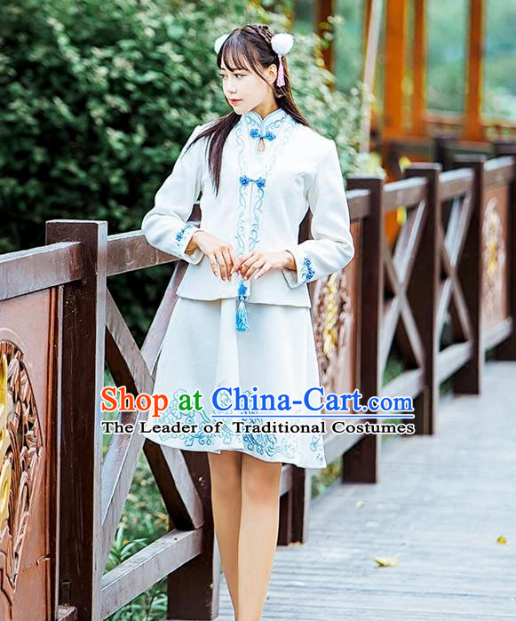 Traditional Ancient Chinese Female Costume Improved Blouse and Skirt Complete Set, Elegant Hanfu Clothing Chinese Ming Dynasty Palace Princess Embroidered Auspicious Clouds Clothing for Women