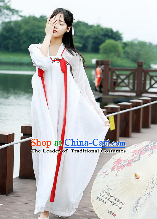 Traditional Ancient Chinese Female Costume Blouse and Dress Complete Set, Elegant Hanfu Clothing Chinese Tang Dynasty Palace Princess Embroidered Plum Blossom Clothing for Women