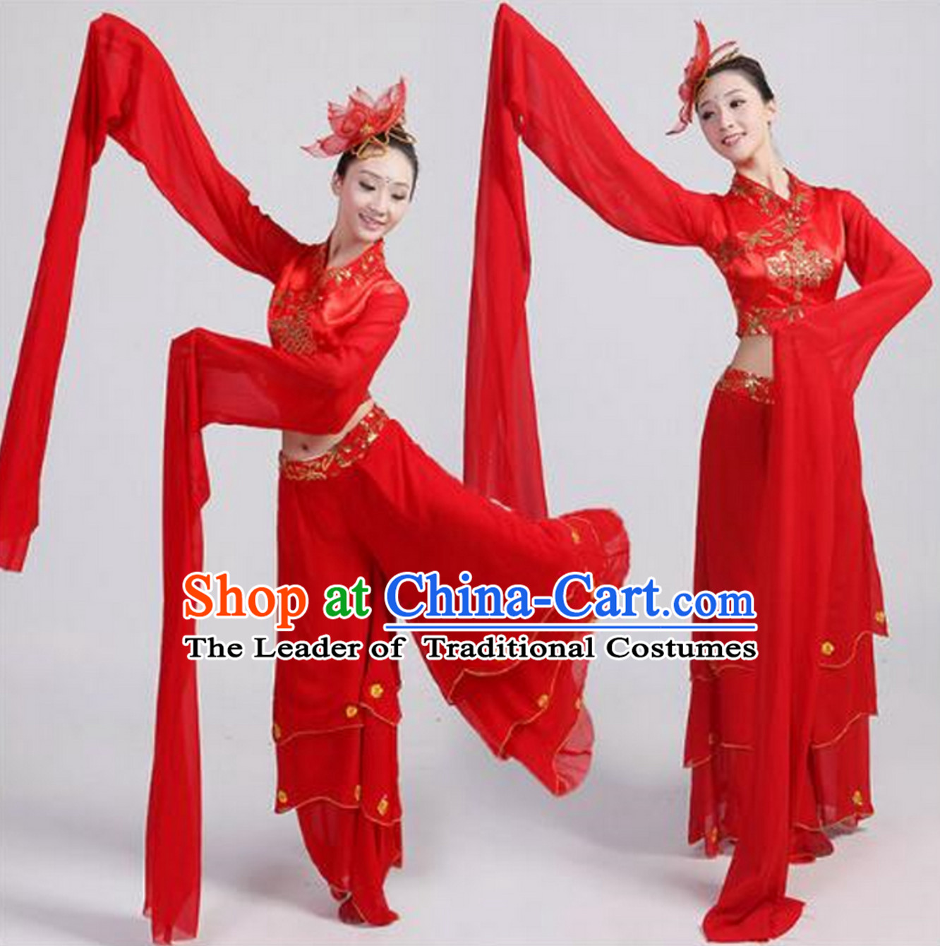 Chinese Lucky Red Water Sleeve Dance Costumes and Hair Decorations for Women