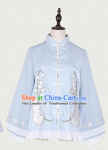 Traditional Ancient Chinese Female Costume Blue Short Blouse, Elegant Hanfu Clothing Chinese Song Dynasty Palace Princess Embroidered Convallaria Majalis Coat for Women