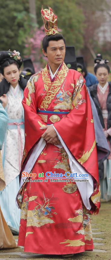 Traditional Ancient Chinese Imperial Emperor Wedding Costume and Hat Complete Set, Elegant Hanfu Palace King Robe, Chinese Han Dynasty Majesty Embroidered Dragon Clothing and Headwear for Men