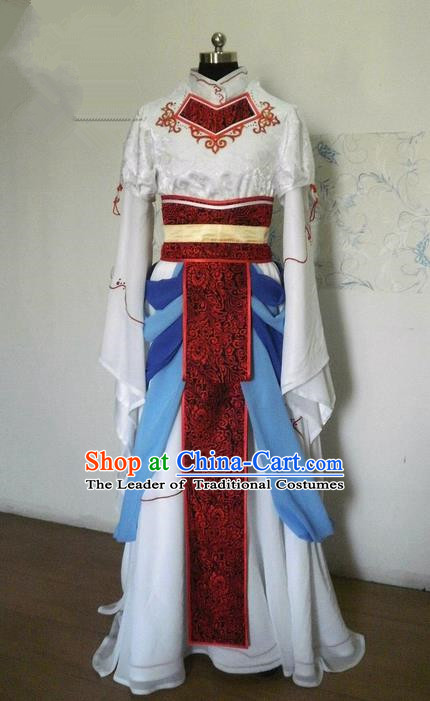 Traditional Ancient Chinese Imperial Consort Dance Costume, Elegant Hanfu Clothing Chinese Han Dynasty Imperial Empress Cosplay Fairy Tailing Embroidered Clothing for Women