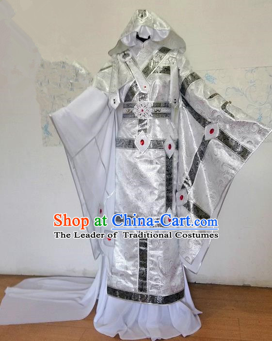 Traditional Ancient Chinese Imperial Prince Costume Complete Set, Elegant Hanfu Nobility Childe Robe, Chinese Swordsman Cosplay Clothing for Men
