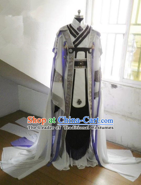 Traditional Ancient Chinese Imperial Emperor Costume, Ancient Elegant Hanfu Clothing Chinese Tang Dynasty Imperial King Cosplay Tailing Embroidered Dress for Men