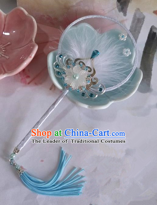Traditional Chinese Handmade Ancient Hanfu Cosplay Round Blue Little Fan Props