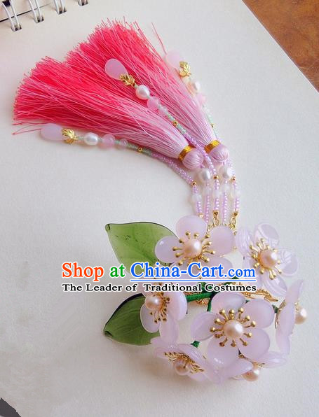 Traditional Handmade Chinese Ancient Princess Classical Accessories Jewellery Pure Copper Coloured Glaze Hair Sticks Hair Jewellery, Pincushion Hair Fascinators Hairpins for Women